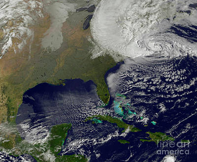 Hurricane Sandy Battering The United Art Print by Stocktrek Images