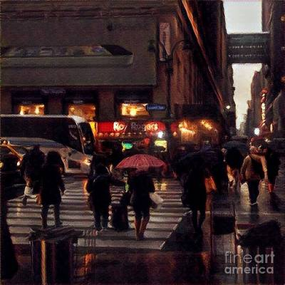 Photograph - Hurrying Home - New York In The Rain by Miriam Danar