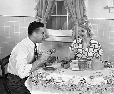 Husband And Wife Eating Breakfast Art Print