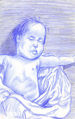 Art Print featuring the drawing Hush Little Baby by Jean Haynes