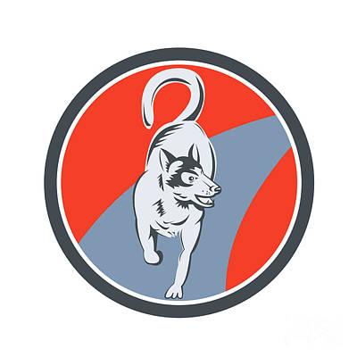 Huskie Wall Art - Digital Art - Huskie Sled Dog Circle Retro by Aloysius Patrimonio