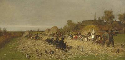 Nantucket Painting - Husking Bee, Island Of Nantucket, 1876 by Eastman Johnson