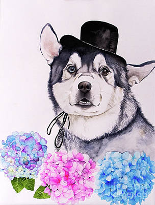 Painting - Husky And Hydrangea Flowers Watercolor Painting by NamiBear