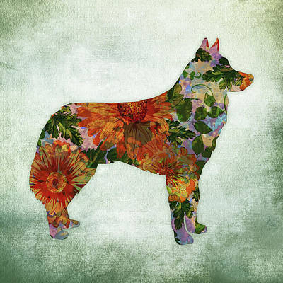 Watercolor Pet Portraits Digital Art - Husky Dog Floral On Green by Flo Karp