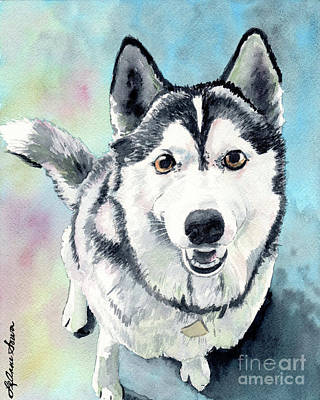 Painting - Husky Dog Love, Husky Painting, Husky Print, Dog Painting, Dog Print by LeAnne Sowa