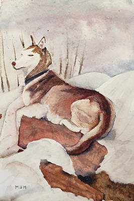Husky Puppy Painting - Husky In The Snow by Melanie Harman
