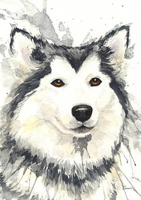 Watercolor Pet Portraits Painting - Husky by Kathleen Wong