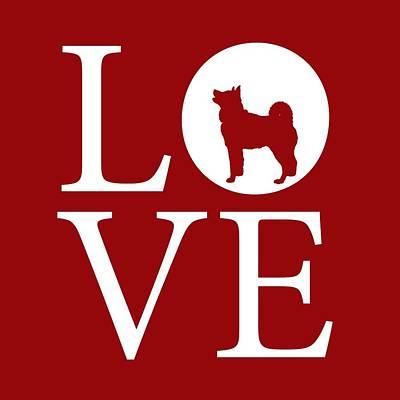 Digital Art - Husky Love Red by Nancy Ingersoll