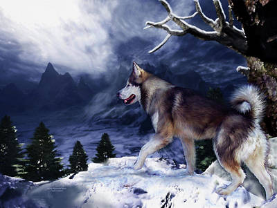 Painting - Husky - Mountain Spirit by Carol Cavalaris