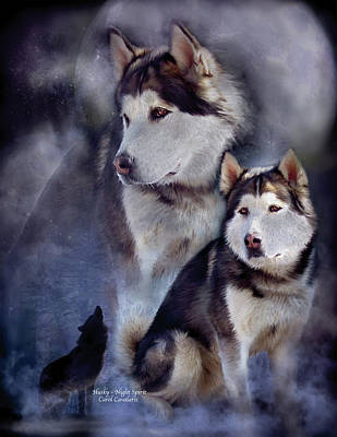 Mixed Media - Husky - Night Spirit by Carol Cavalaris