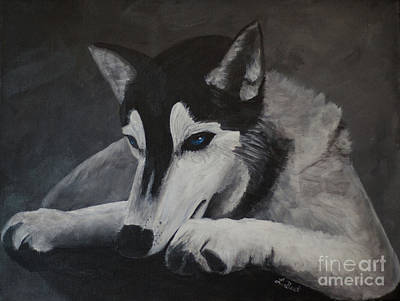 Painting - Husky Resting by Laurel Best