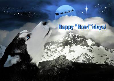 Husky, Santa And Moon Happy Holidays Card Art Print by Stephanie Laird
