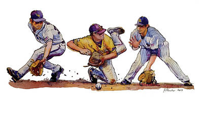Baseball Painting - Hustle by Judy Hanks