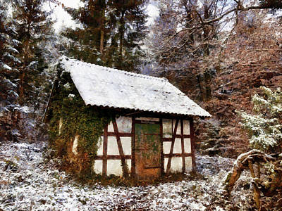 Photograph - Hut In The Forest Photo Painting by Matthias Hauser