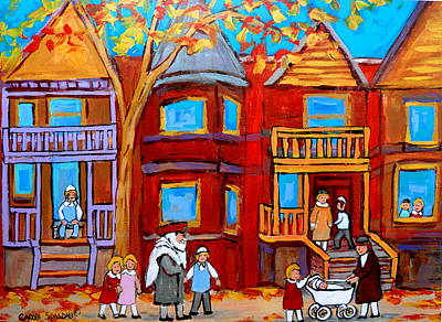 Jewish Montreal Painting - Hutchison Street Sabbath In Montreal by Carole Spandau