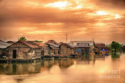 Art Print featuring the photograph Huts On Water by Charuhas Images