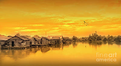 Art Print featuring the photograph Huts Yellow by Charuhas Images