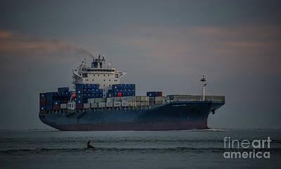 Photograph - Huundai Tianjin Cargo Ship by Dale Powell