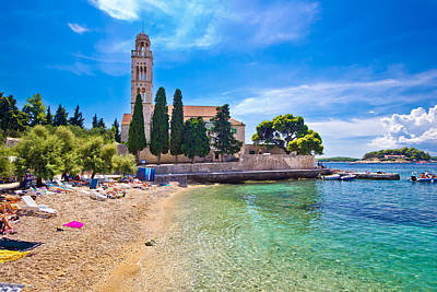 Hvar Island Turquoise Beach And Stone Church Art Print