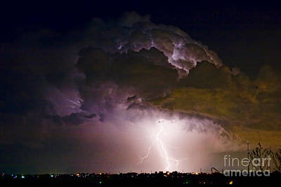 Hwy 52 - 08-15-2010 Lightning Storm Image 42 Art Print by James BO  Insogna