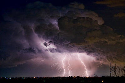 Hwy 52 - Hwy 287 Lightning Storm Image 29 Art Print by James BO  Insogna