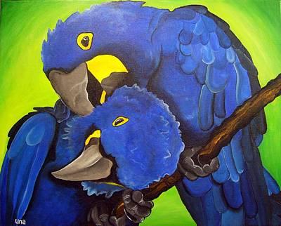 Yellow Beak Painting - Hyacinth Macaw by Una  Miller