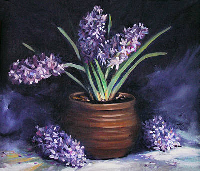 Painting - Hyacinths In A Pot by Nancy Griswold