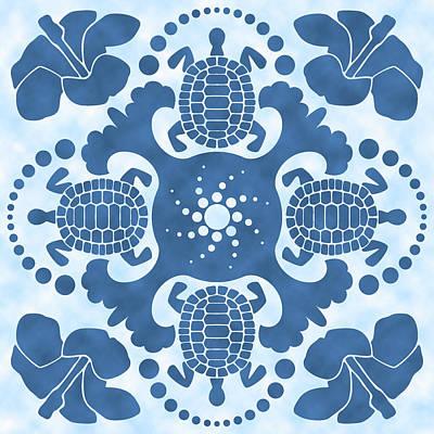 Hybiscus And Turtle Hawaiian Quilt Block Art Print