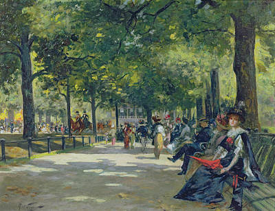 Park Benches Painting - Hyde Park - London  by Count Girolamo Pieri Nerli