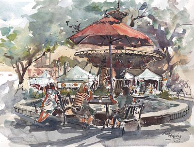 Hyde Park Market Plein Air Original by Gaston McKenzie