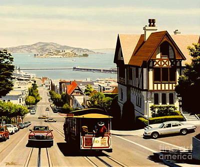 Alcatraz Painting - Hyde Street San Francisco by Frank Dalton