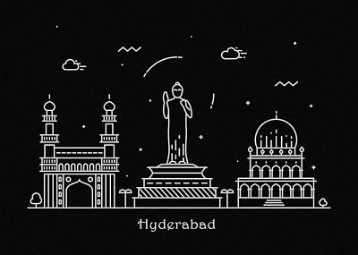 Abstract Landscape Drawing - Hyderabad Skyline Travel Poster by Inspirowl Design
