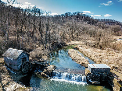 Photograph - Hyde's Mill With Bald Eagle by Randy Scherkenbach