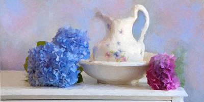 Wash Basins Digital Art - Hydrangea And Wash Basin by Michael Petrizzo