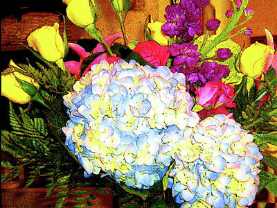 Photograph - Hydrangea And Yellow Roses by Merton Allen