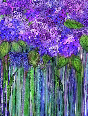 Print featuring the mixed media Hydrangea Bloomies 1 - Purple by Carol Cavalaris