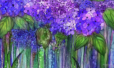 Hydrangea Bloomies 3 - Purple Art Print by Carol Cavalaris