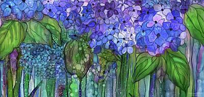 Mixed Media - Hydrangea Bloomies 4 - Blue by Carol Cavalaris