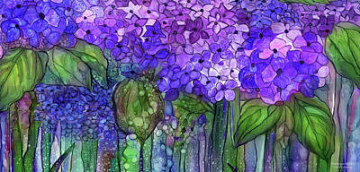 Print featuring the mixed media Hydrangea Bloomies 4 - Purple by Carol Cavalaris