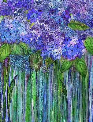 Mixed Media - Hydrangea Bloomies 1 - Blue by Carol Cavalaris