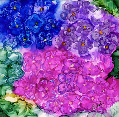 Pink Sapphire Painting - Hydrangea Garden by Eunice Warfel