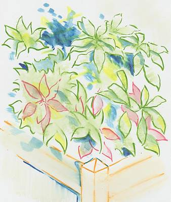 Painting - Hydrangea Plant Growing Out Of A Square Wooden Planter by Mike Jory