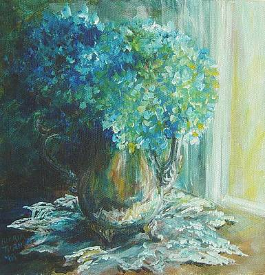 Silver Tea Pot Painting - Hydrangea Sold by Gloria Turner