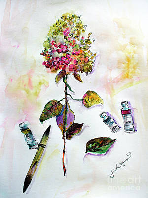 Painting - Hydrangea Still Life With Objects by Ginette Callaway