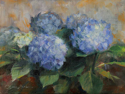Purple Flowers Painting - Hydrangea Study by Anna Rose Bain
