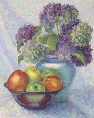 Painting - Hydrangea's And Apples by Jean Ehler