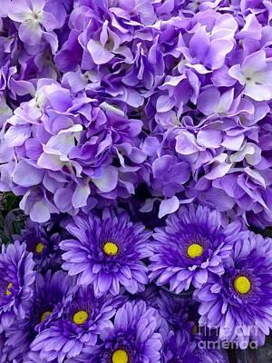 Painting - Hydrangeas And Daisies So Purple by Saundra Myles