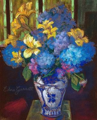 Pastel - Hydrangeas And Daylilies by Edna Garrett