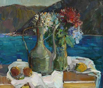 Painting - Hydrangeas And Old Jug by Juliya Zhukova