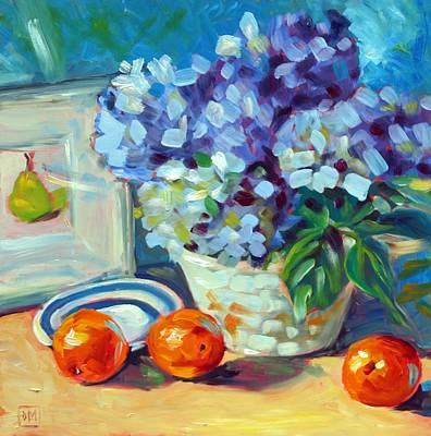 Hydrangeas And Oranges Art Print by Debbie Miller